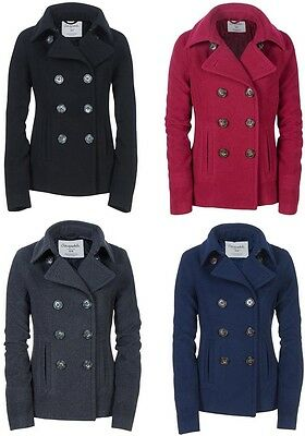 AEROPOSTALE Womens Solid Peacoat Winter Wool Pea Coat Jacket XL Berry  NEW