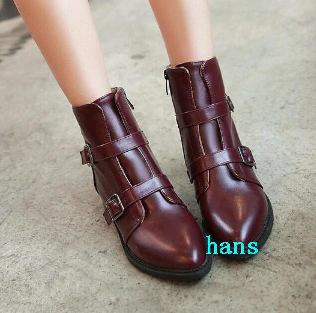 Puntera en Punta Hebilla Cremallera Lateral Mujeres botas al Tobillo Piel Forrada de Baja Tacones Zapatos Talla Caliente