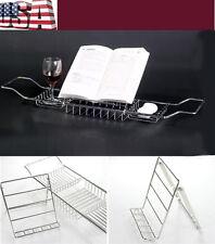 Bath Tub Book Wine Rack CHROME Plated Shower Shelf Holder Tray Caddy Extendable
