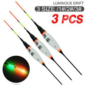3Pcs LED Light Smart Luminous Fishing Float Bobbers For Night fishing UK Stock