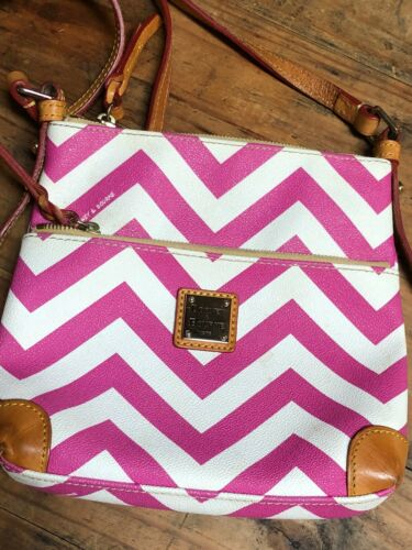 Dooney and Bourke Pink Chevron Stripes on White Le