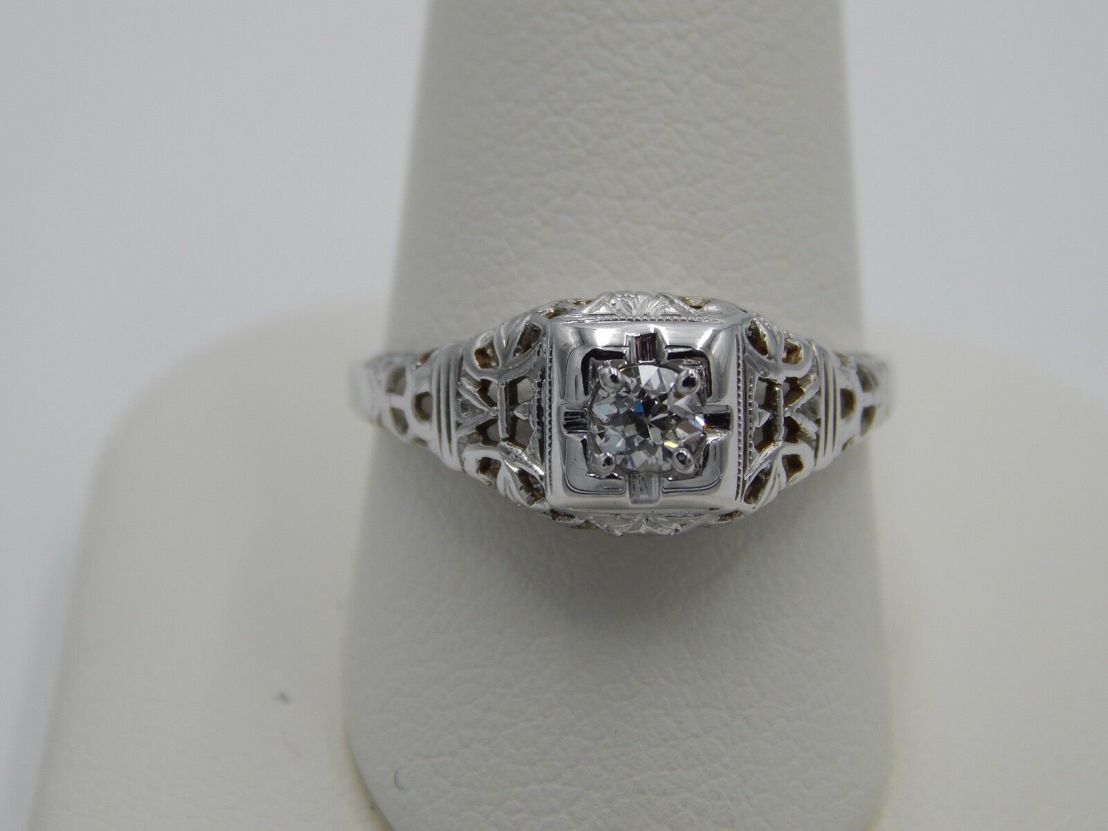 ART DECO .22 ct Filigree Old European Cut Diamond Engagement Ring 18k WG F VS