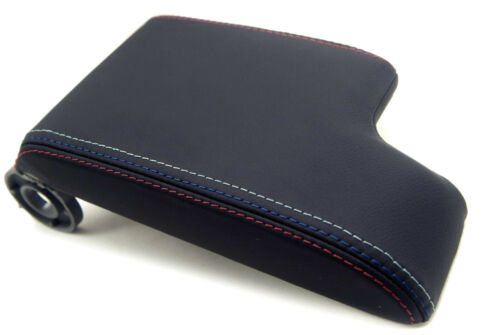 Armrest Center Console Lid Cover Leather for 99-04 BMW E46 Black M Type Stitch