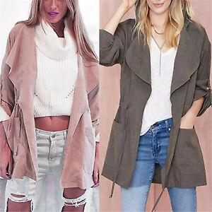 Women-Waterfall-Hooded-Trench-Coat-Long-Jacket-Lapel-Open-Front-Cardigan-Outwear