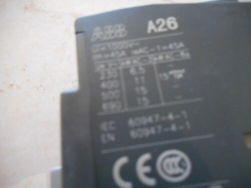 240-260V 60Hz NEW ABB 1SBL241001R8801 BLOCK CONTACTOR A26-30-01 230-240V 50Hz