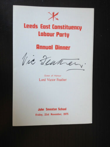 TRADE UNION CONGRESS CHAIRMAN SIGNED LABOUR PARTY MENU 1975 VIC FEATHER