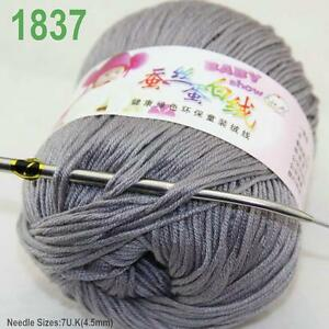 Sale-New-1-ball-x50gr-Cashmere-Silk-Velvet-Baby-Children-Hand-Knitting-Yarn-37