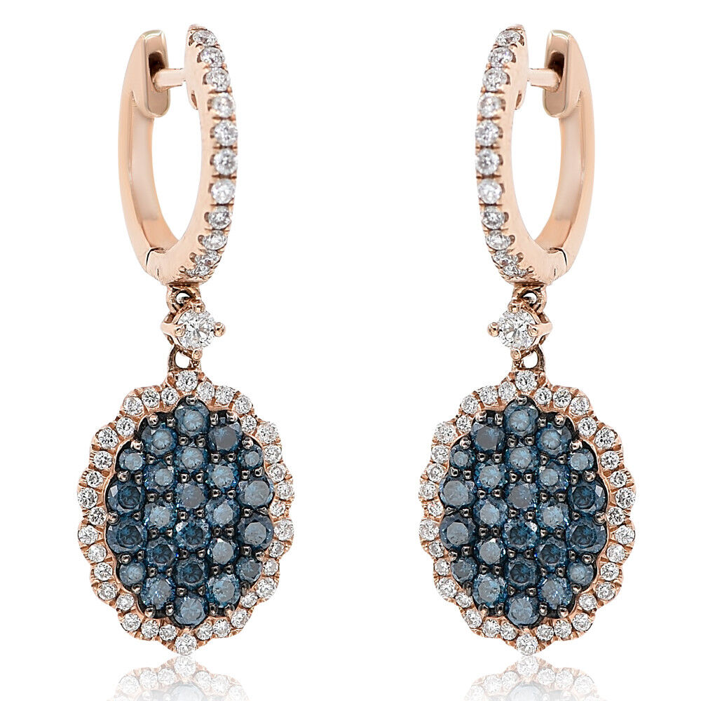 14K pink gold  PAVE blueeE DIAMOND  ROUND OVAL DANGLE DANGLING DROP EARRINGS