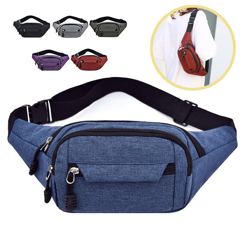 Men Women Canvas Crossbody Shoulder Bag Chest Waist Pack Pouch Handbag Portable