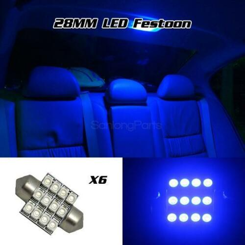 6 x Ultra Blue LED Bulbs 28mm Festoon 12SMD Dome Map Light DE3021