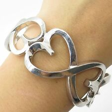 CI 925 Sterling Silver Wide Open Heart Cuff Bracelet 6.5""