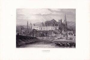 Gravure-XIXe-Cordoue-Andalousie-Cordoba-Mosquee-Mezquita-de-Cordoba-Espana