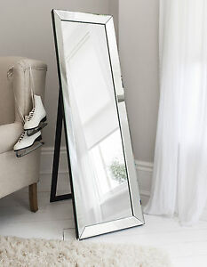 Luna venetian cheval full length free standing silver for Standing glass mirror