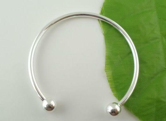 Wholesale Lots European Smooth bangle bracelet for Charm beaded 19cm Adjustable