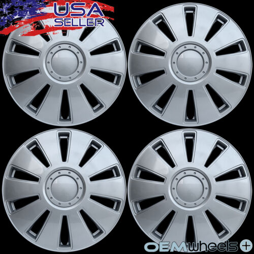 """4 NEW OEM SILVER 16/"""" HUB CAPS FITS VOLKSWAGEN VW CAR ABS CENTER WHEEL COVERS SET"""