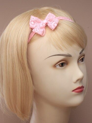 PASTEL LACE FABRIC STRETCH HEADBAND HAIR HEAD ALICE BAND BANDEAUX WITH BOW