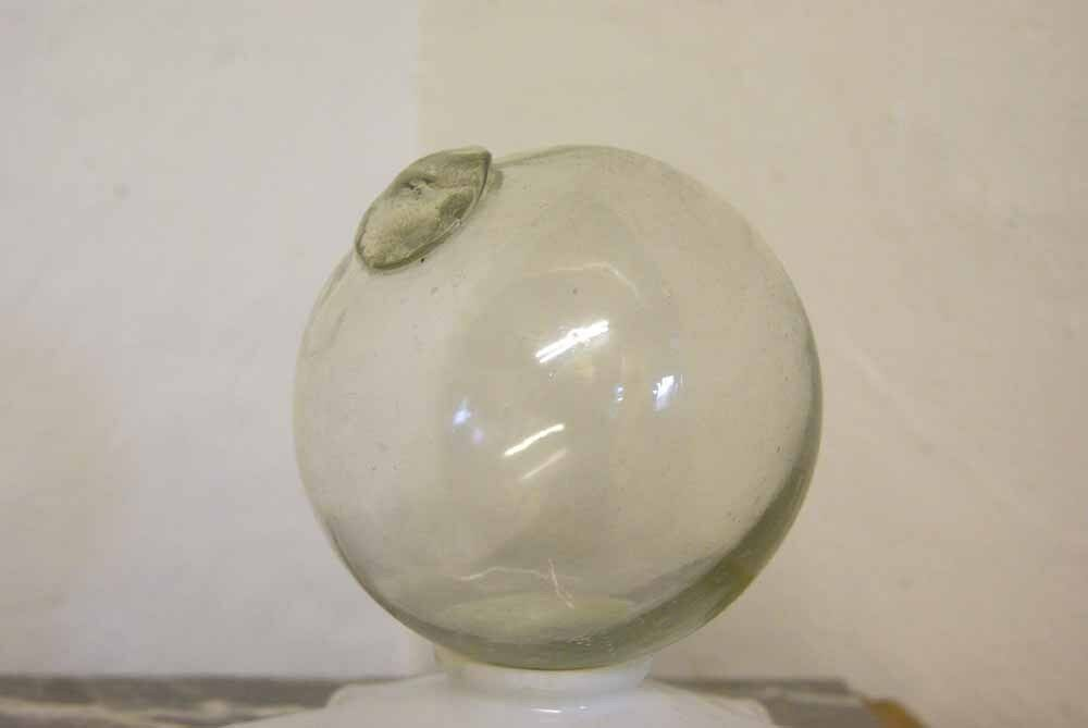 Antique French Glass Fishing Float CLEAR Round Ball 15 cm Dia Gift Handmade
