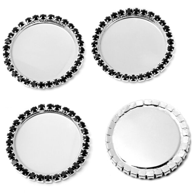50x Hot Alloy Silver Plated Black Rhinestone Round Cameo Cabochon Setting Base D