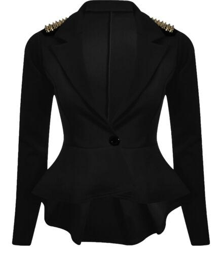 New Ladies Skater Slim Fit  Stud Detail Shift Jackets 8-24