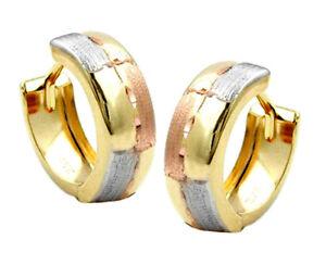 375-ECHT-GOLD-Kleine-Creolen-Ohrringe-tricolor-diamantiert-12-mm