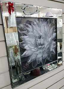 Black-amp-white-flower-pictures-with-liquid-art-crystals-amp-mirror-frames