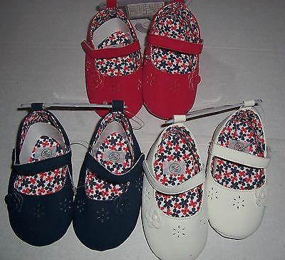 Bebé Niñas Rojo, Azul Marino O Crema De Zapatos Con Flor Detalle Talle 18-24 Meses