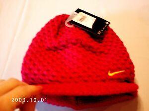 6120920d58e New NIKE winter Knit Hat w sassy bill girls size 7 - 16 cherry pink ...