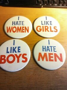 "Vintage Lot 4 I LOVE I HATE GIRLS BOYS Men 5"" BUTTONs Pin Novelty Pinback 80s"