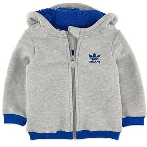 Details about Adidas Baby Winter Teddy Jacket Boys Cosy Jacket Thick Lined Grey Blue 104