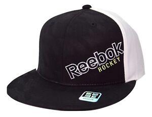 Image is loading Reebok-Hockey-Houndstooth-Script-Logo-Snapback-Flat-Bill- 5235d1a56c2