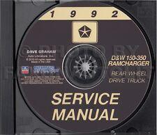 1992 Dodge Pickup Truck Shop Manual CD D150-D350 Ramcharger W150-350 Gas Diesel