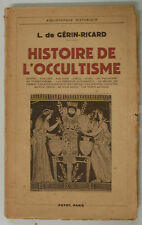 Gerin-Ricard HISTOIRE DE L'OCCULTISME 1948 Payot Occultismo