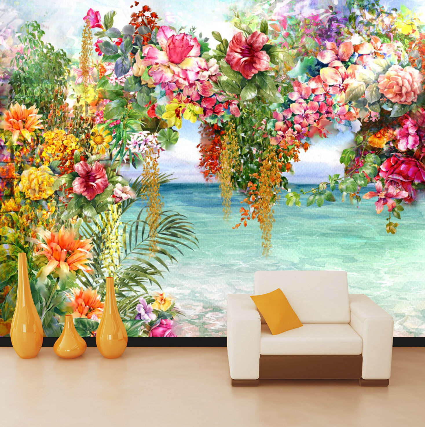 3D Sea, flowers 8787 Wall Paper Wall Print Decal Wall Deco Indoor wall Murals