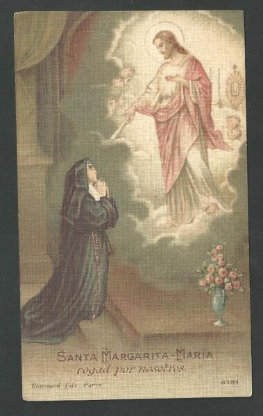 Estampa Antigua De Santa Margarita Marie Andachtsbild Santino Holy Card Santini Aliviar El Reumatismo