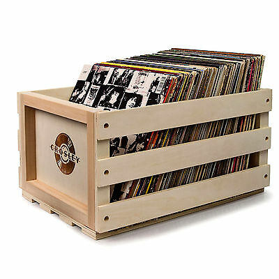 New CROSLEY LP RECORD STORAGE CRATE SOLID WOOD RETRO DESIGN