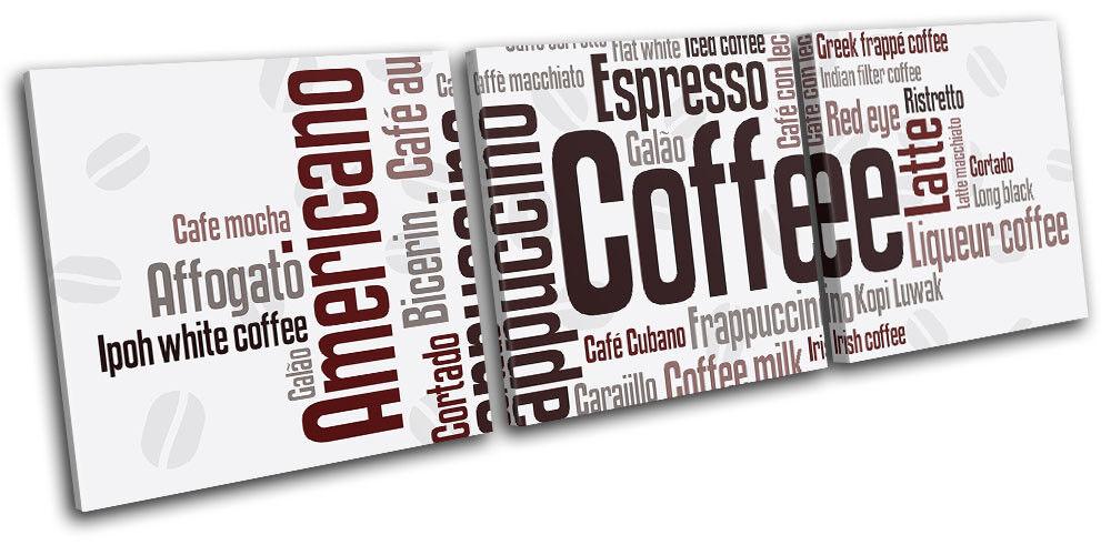 Coffee Typography  Food Kitchen TREBLE TELA parete arte arte arte foto stampa ab08af