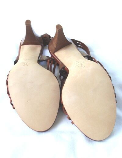 FABULOUS COLE BACK HANN BROWN HUARACHE SLING BACK COLE PUMPS 10 B 21a632
