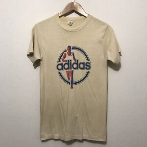 Details about Vintage original 70s Adidas t shirt medium running USA made trefoil