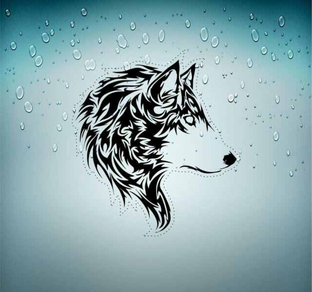 Sticker tuning decal car motorcycles wolf biker  tribal animal tattoo r2