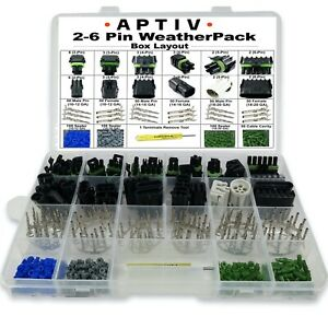 Terminal Kit 14 Weatherpack Waterproof Delphi Packard 5 Completed Set 16 AWG Delphi Connection Systems 2 Circuits