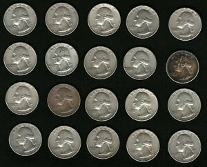 Lot-of-20-Washington-Silver-Quarters-Coins-Years-1961-1962