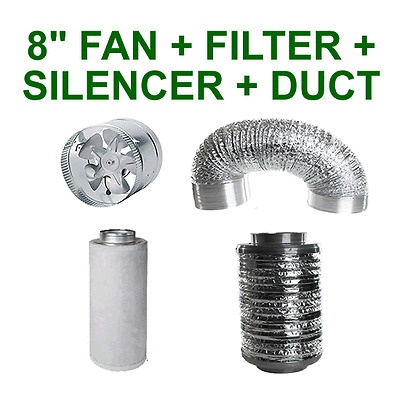 """8""""/200MM COMBO - EXTRACTOR FAN + CARBON FILTER + SILENCER + ALUMINIUM DUCTING"""