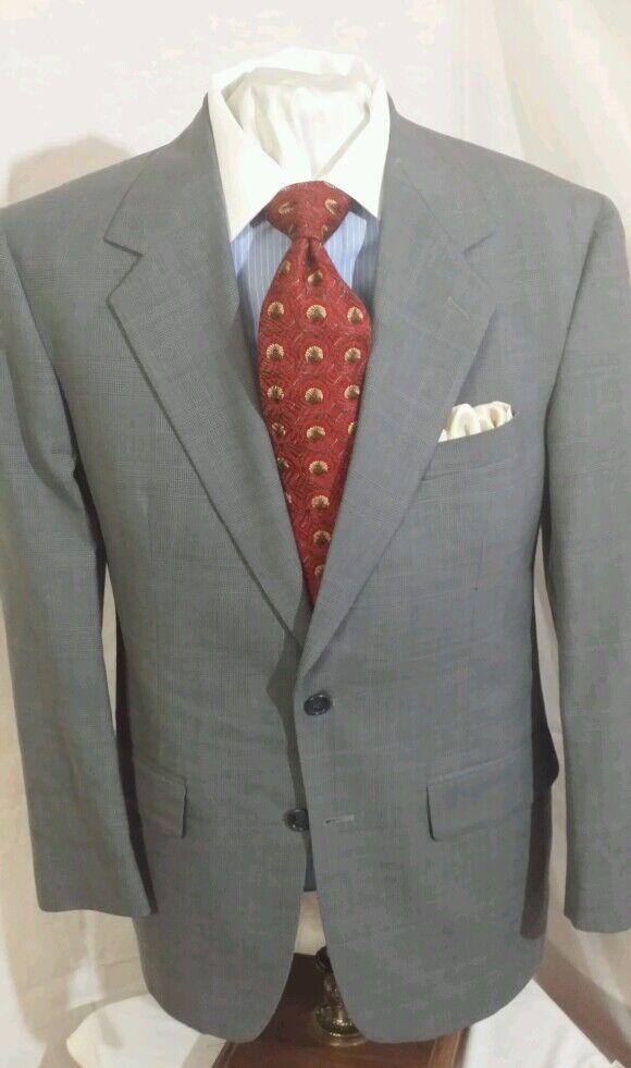 Herren Bill Blass Blau 2 button glenn plaid single vent suit sz 42R
