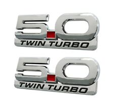 1979 2021 Mustang 50 Twin Turbo 525 Chrome Fender Emblems With Accent Badge 4pc