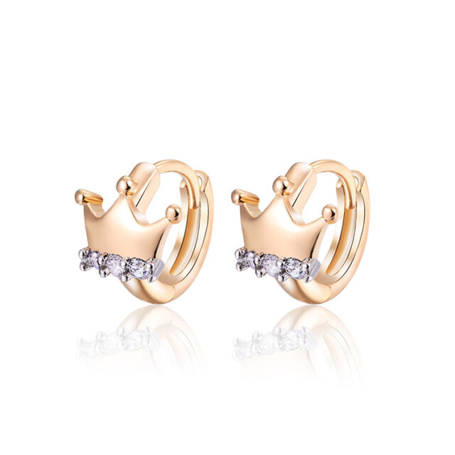 Luxury 18 K Gold Plated Jewellery Small Baby Girls Hoops Crown
