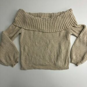 Active Usa Cropped Off Shoulder Sweater JR Women's L Tan Chenille Knit Long Slv