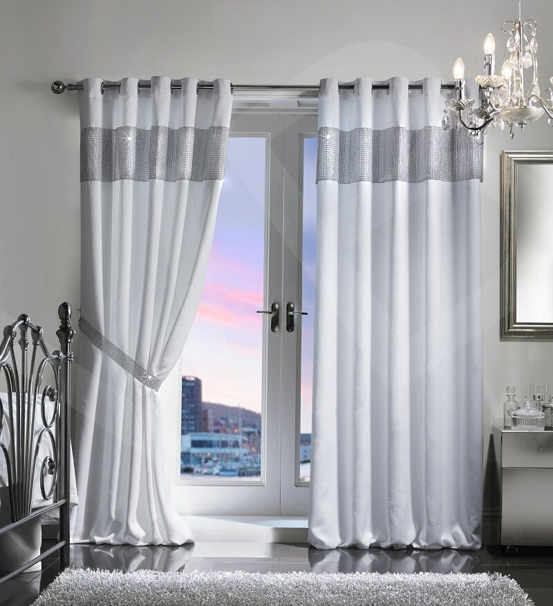 Diamante Thermal Blackout Pair Curtains Ready Made Eyelet Ring Top Fully Lined Ebay