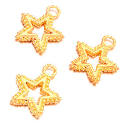 50pc NEW Gold Plated Alloy Five-pointed Star Jewellery Pendants Fashion Charms J