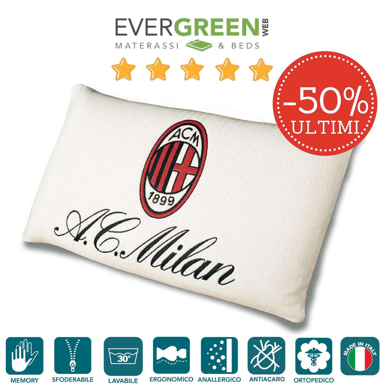 Cuscini Memory Foam Cervicale Saponetta Sfoderabile Ufficiale AC Milan Originale