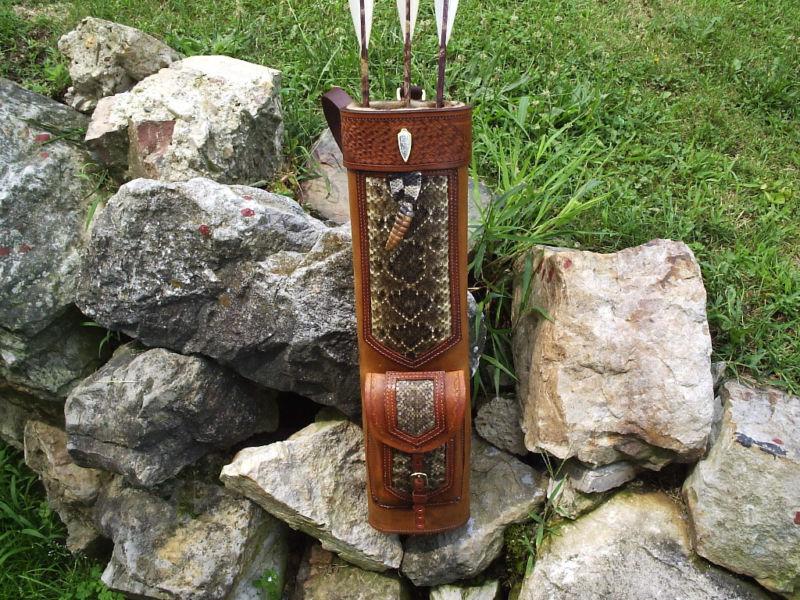 Serpiente de cascabel Cuero Trasero Cochecaj tradicional tiro con arco